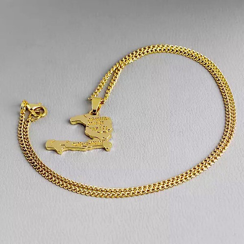 Haiti Map - Pendent Necklace