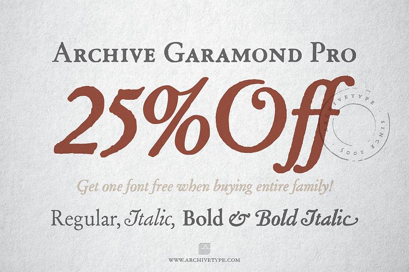 Archive Garamond Pro / All 4 Fonts