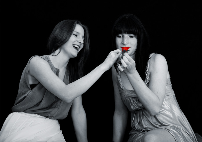 Fotoshooting Schwestern Erdbeere