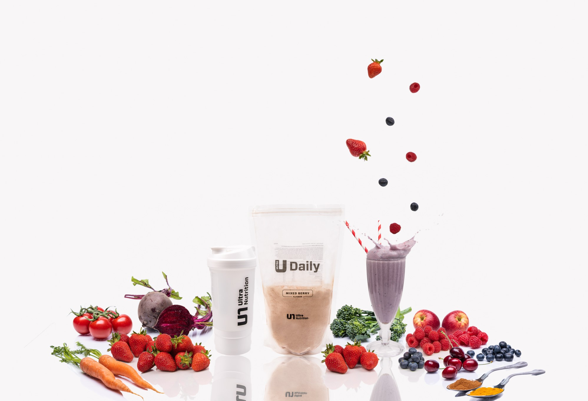 Ultra Daily mixed Berry with white shake