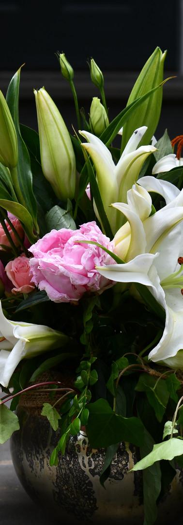 Beautiful lilies with peonies