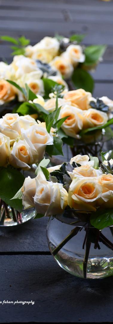 Roses & succulent center pieces