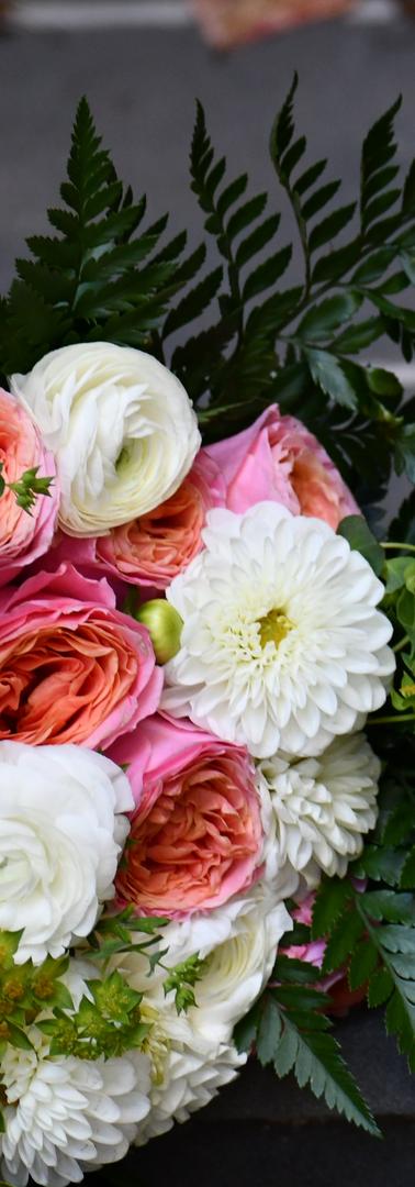 Fun bridal bouquet, gorgeous garden roses, dahlias, ranunculs and lots of fern!