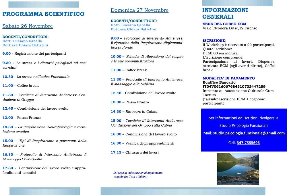 Corso ECM Psicologia Funzionale Firenze 17,5 ecm
