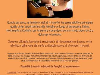 """LABORATORIO """"La musica come nutrimento e contatto"""" (2-12 mesi; 1-2 anni; 2-3 anni)"""