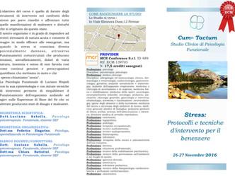 """CORSO (17,5 ECM): """"Protocolli e Tecniche di Intervento per il benessere"""" 26-27 Novembre 20"""