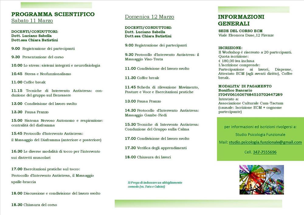 Cum-TActum Psicologia Funzionale Firenze ECM 20 Stress