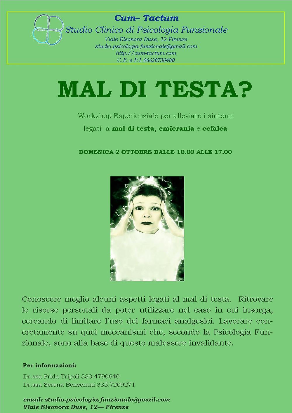 Workshop Mal di testa Psicologia Funzionale Firenze Tripoli Benvenuti