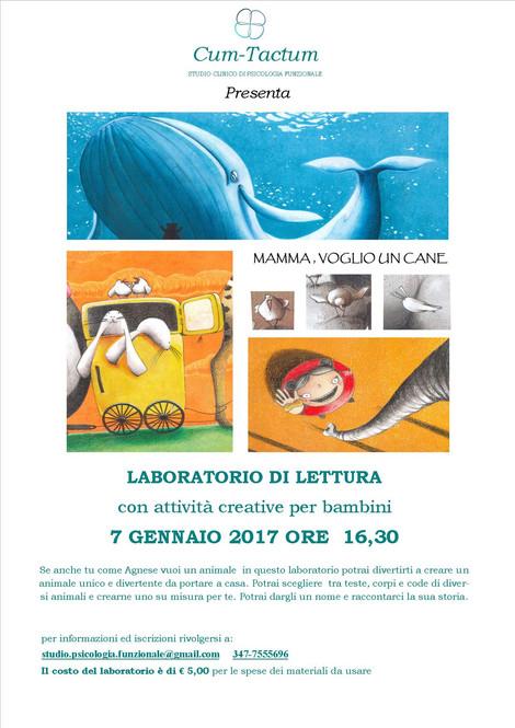 Sabato 7 Gennaio 2017: LABORATORIO DI LETTURA con attività creative per bambini/e