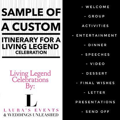 Arizona timeline for Living Legend Celebrations and planning