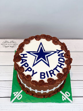 "Cowboys Themed Birthday Cake 8"" Chocolate Buttercream"