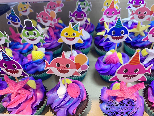 Baby Shark Themed Cupakes