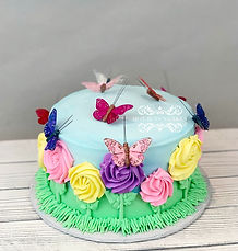 Flower and butterfly cake