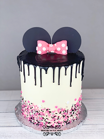 MINNIE MOUSE THEMED CAKE GANACHE DRIP PINK BOW