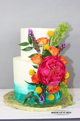 Teal Floral Cake 2 Tiers