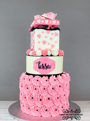 Baby Showr Cake, Fondant Roses, Pink black and white Gift box topper Baby Pink Fondant Converse Shoes