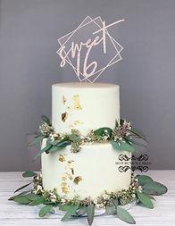 sweet 16 cake gold leaf eucalyptus