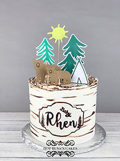 Birch tree cake baby shower cake baby bear mama bear teepee