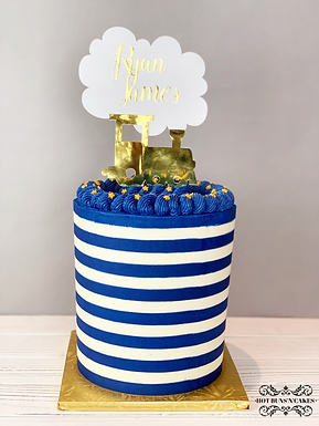 "Baby Shower Automotive Birthday Cake 7"" Blue and White Stripes"