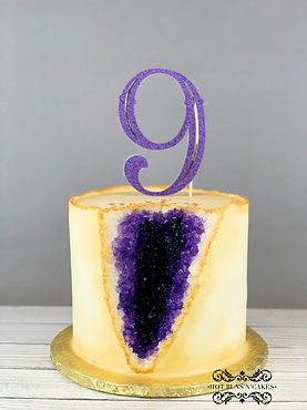 Purle Geode Cake 9th Ninth birthday Cake Gold and Purpe