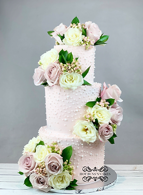 THREE TIER 3 WEDDING CAKE BLUSH PINK WITH WHITE PEARLS FRESH FLOWERS