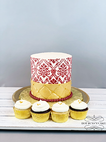 Damask Wedding Cake Cupcakes 6""