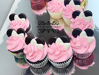 MINNIE MOUSE CUPCAKES, OREO EARS, FONDANT BOW PINK