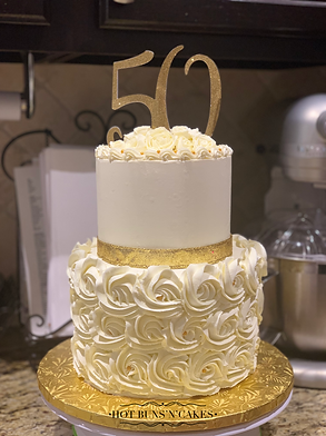 Two Tier 50th Anniversary Cake