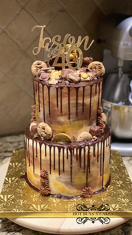 Two Tier Chocolate Loves Bithday Cake