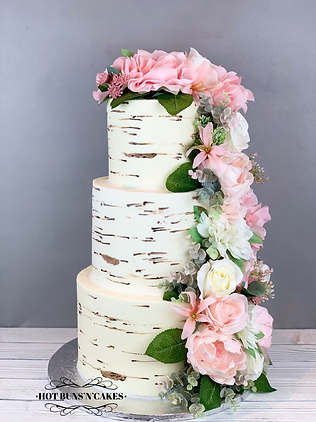 Birch tree Floral Wedding Cake three Tier 3