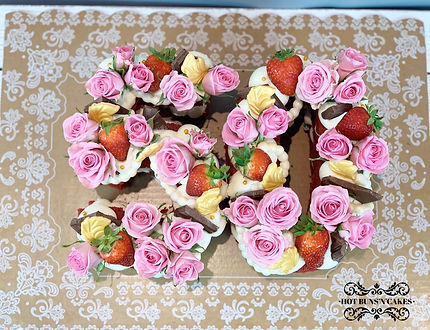 50th Birthday Number Cake Roses Strawberries