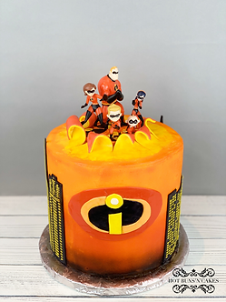 Incredibles Inspired Birthday Cake 8""