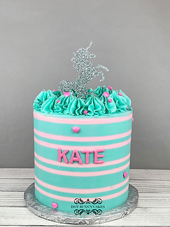unicorn birthday cake pink and teal pink hearts stripes