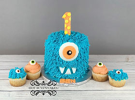 monster smash cake one year old birthday monster cupcakes