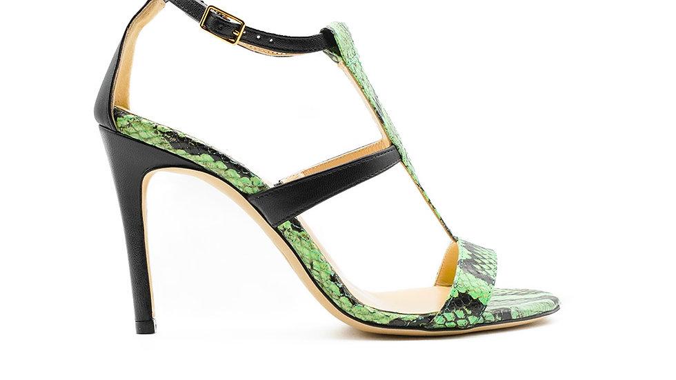 Amina High Heel Green Python