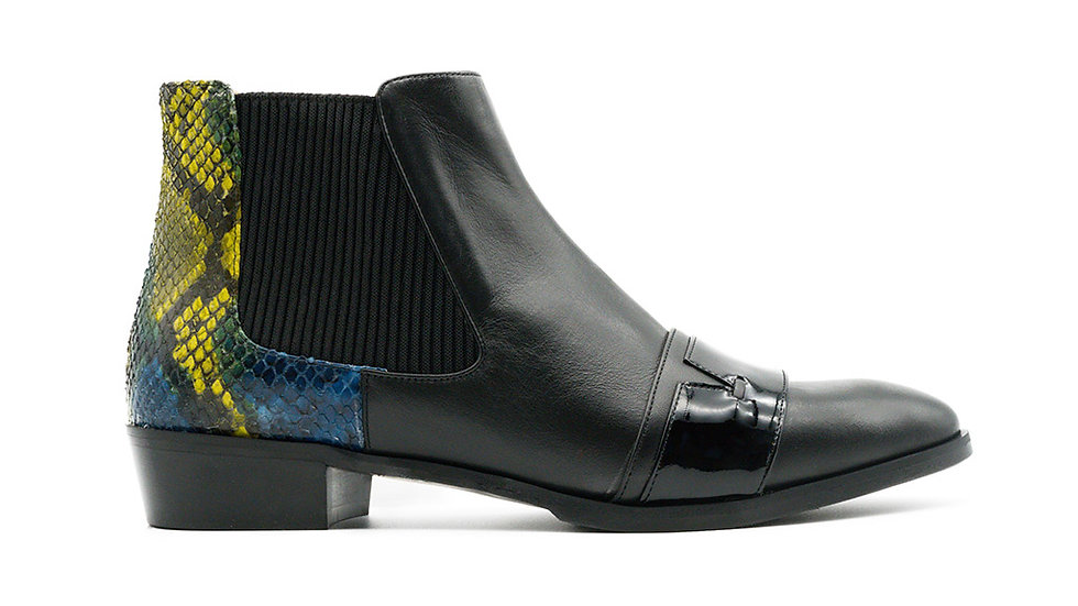 Shae Ankle Bootie Python Accent