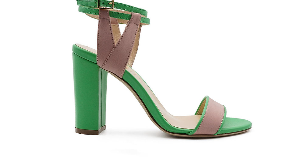 Minty Strappy Sandal Pink and Green