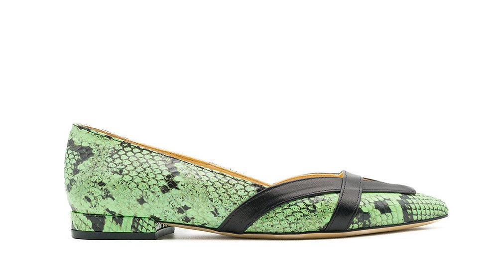 Juana Ballerina Flat Green Python