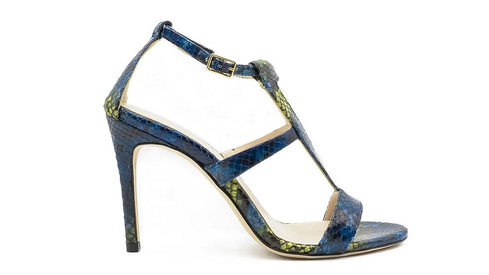 Amina High Heel Sandal Blue Python