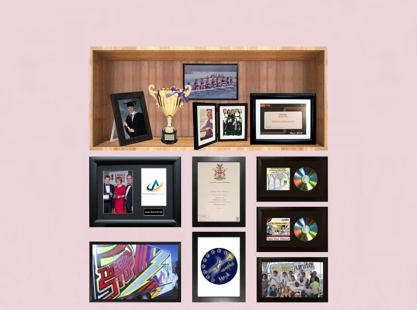 Matthew Blakemore Product Management and Consulting achievements in cabinet and on the wall