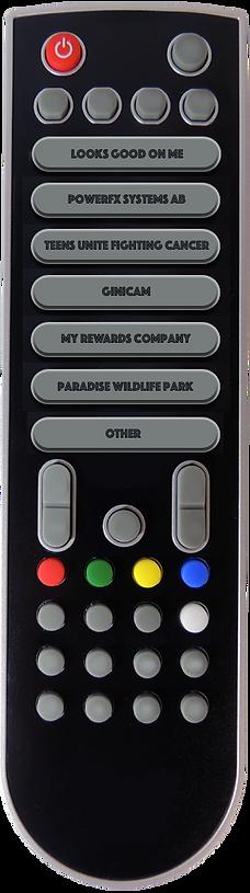 Remote control to display company videos