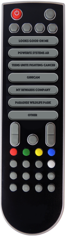 Remote control with company names