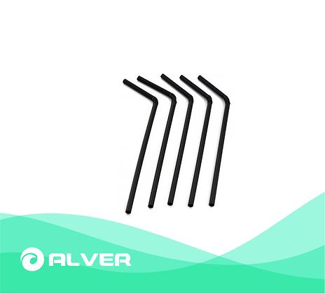 Трубочки с изгибом, черный, d- 5 мм, → 240мм