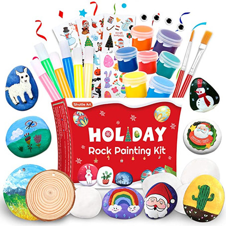 $9.99= 44%OFF Shuttle Art Rock Painting Kit, Rock Painting Arts and Crafts Supplies for Kids