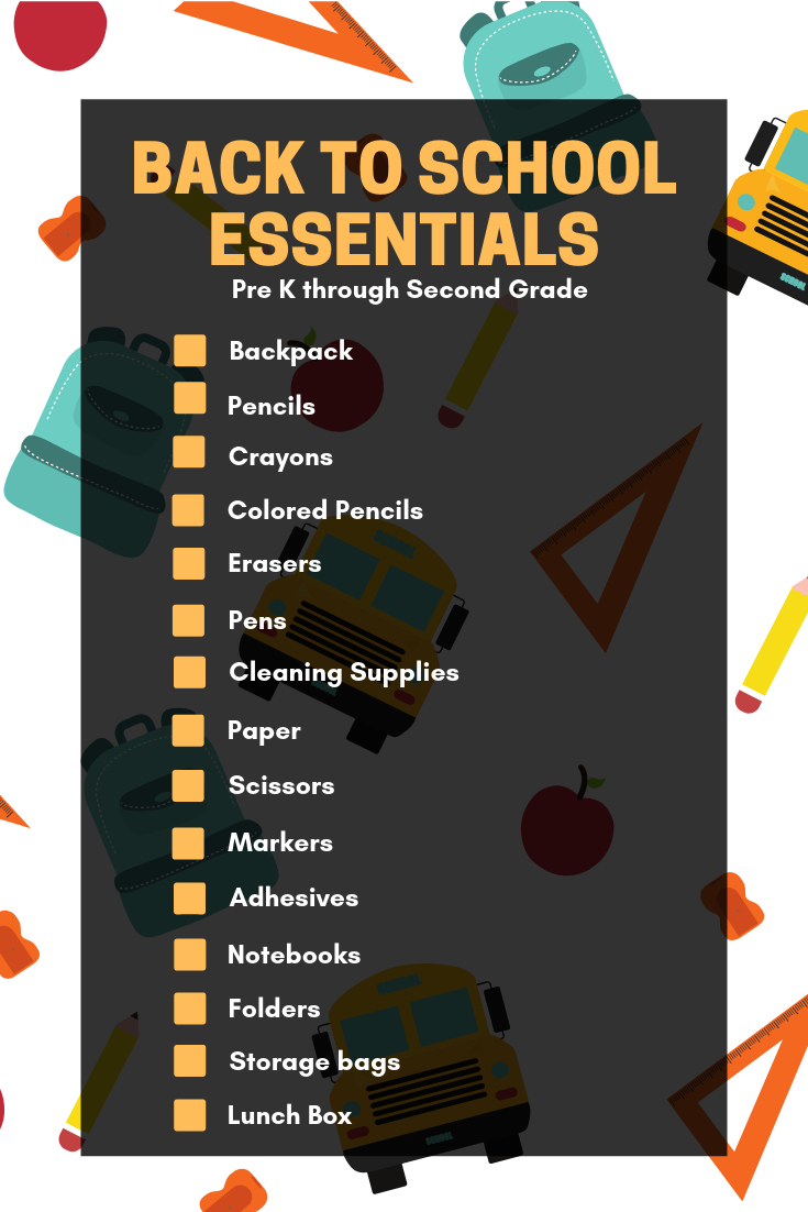 back to school essential checklist for prek through second grade