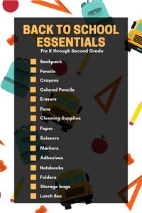 back to school essential checklist for prek through second grade
