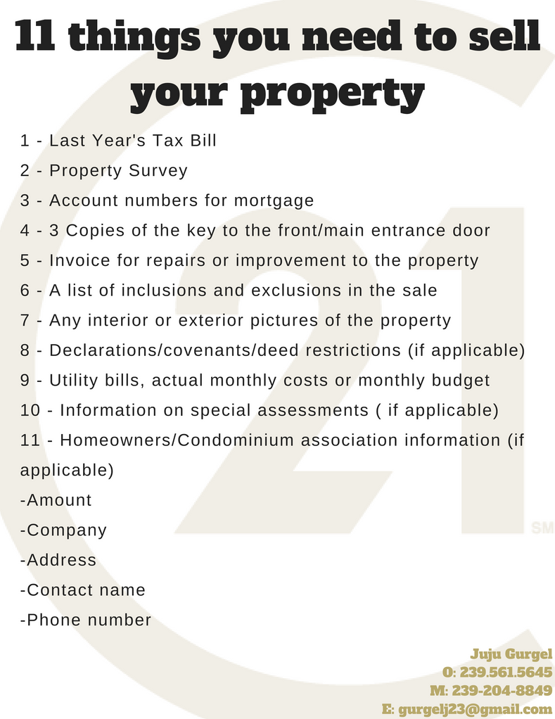 11 Things you need to sell your property