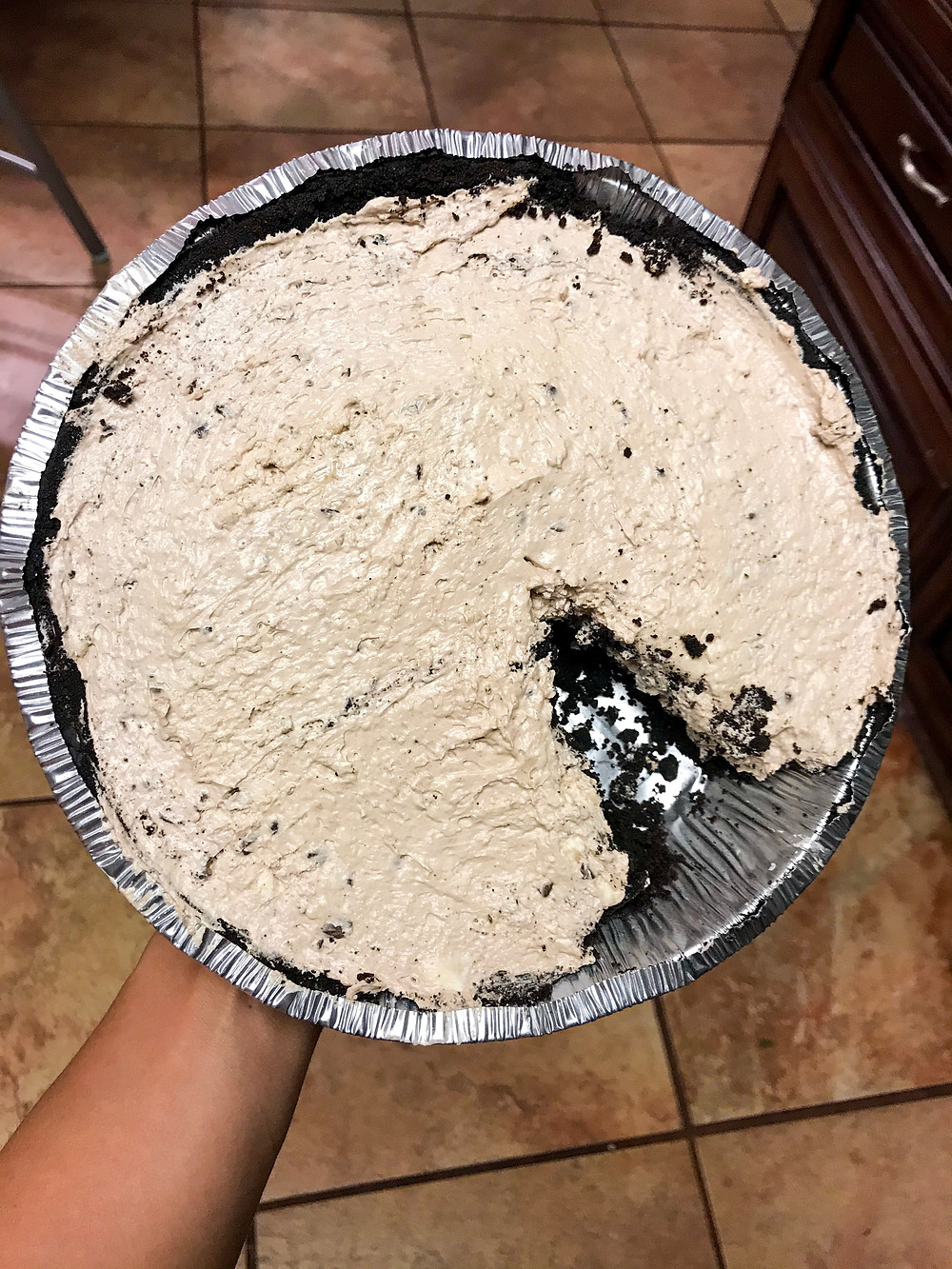 final result of no bake chocolate chip cheesecake