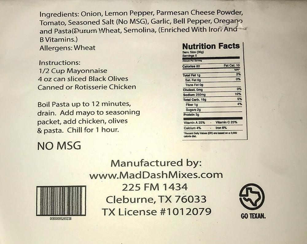 Mediterranean Pasta Salad Information and nutritional fact