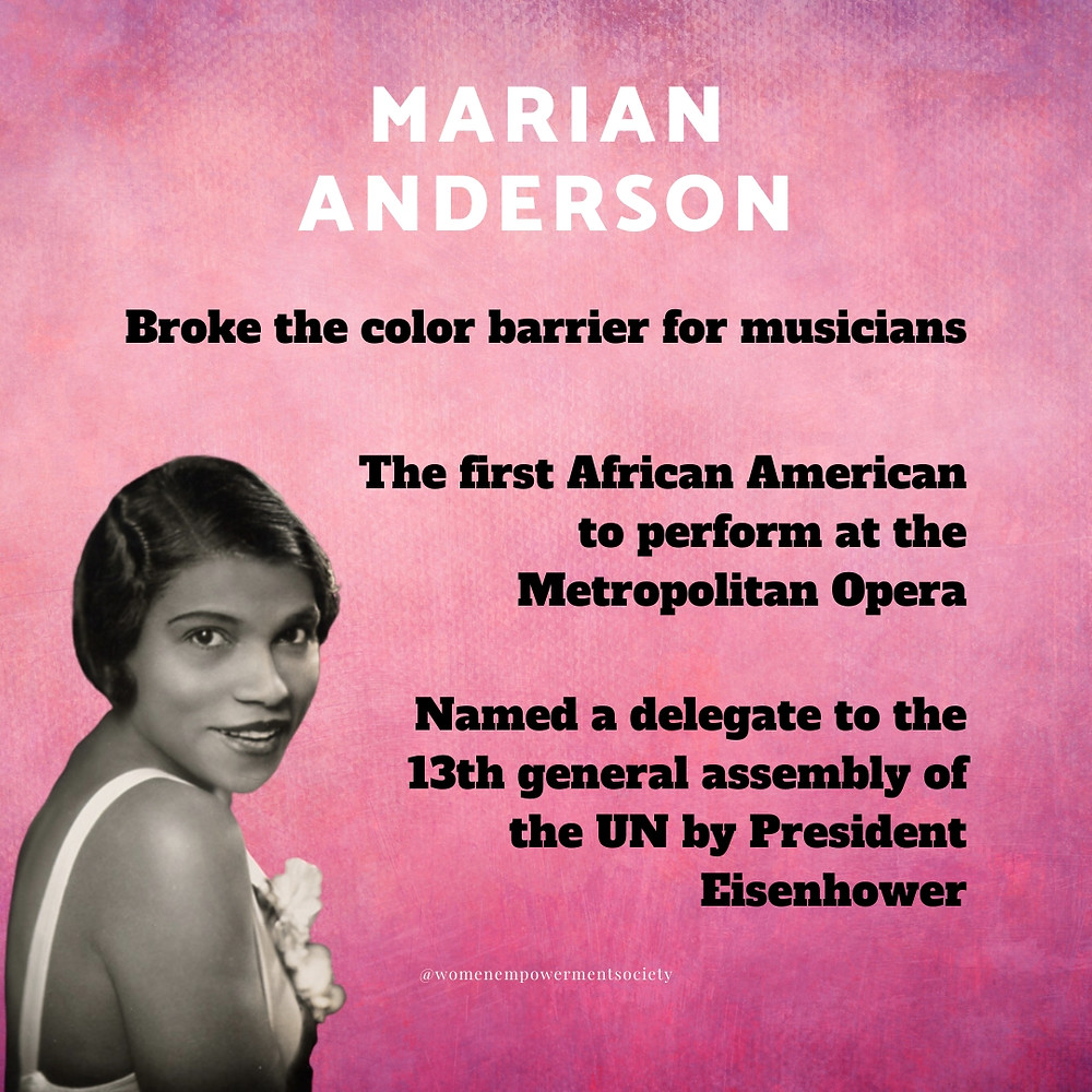 A quick synopses of some of the accomplishments of Marian Anderson